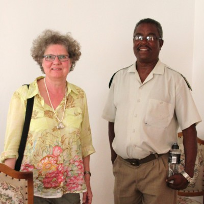 Dagmar Schmidt with Ed Fisher, prison warden for 30 years