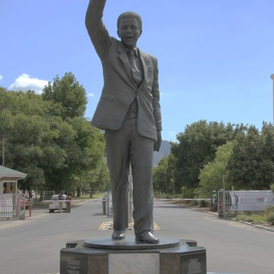 Statue of Madiba, entrance of former Victor Verster Prison, Paarl
